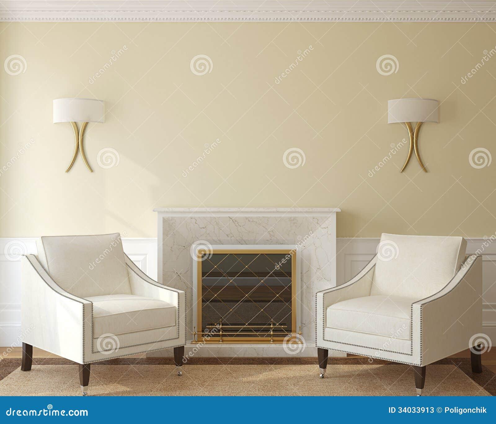 Moderne woonkamer met open haard. stock foto's   afbeelding: 34033913