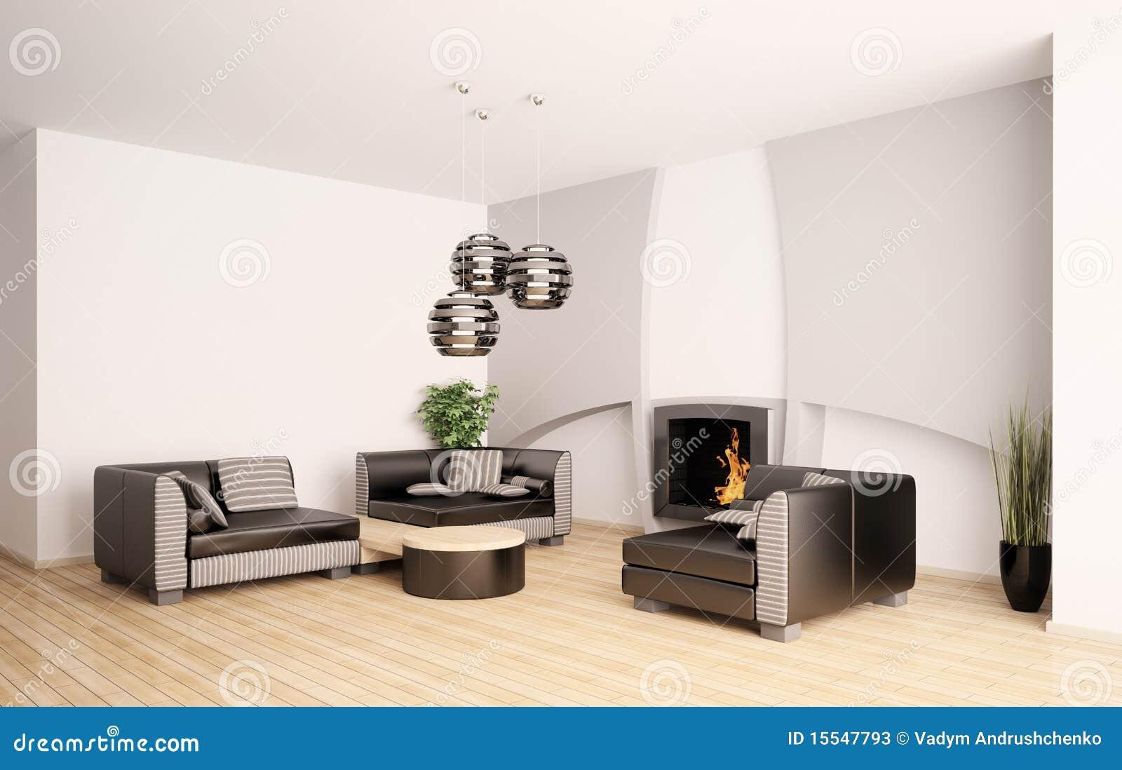 Moderne woonkamer met open haard binnenlandse 3d stock foto's ...