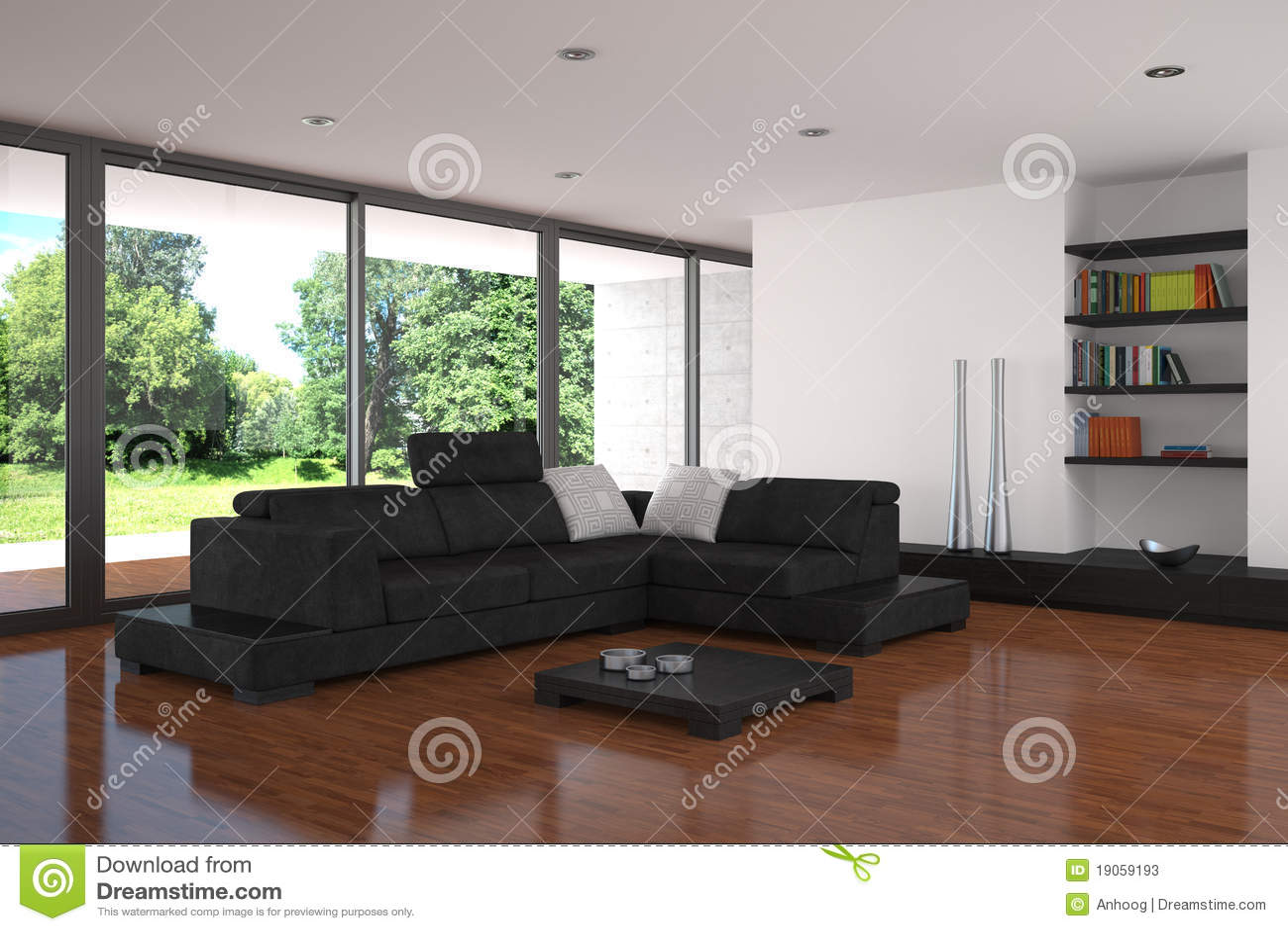 Moderne woonkamer met parketvloer stock foto 39 s beeld 19059193 - Moderne eetkamer en woonkamer ...