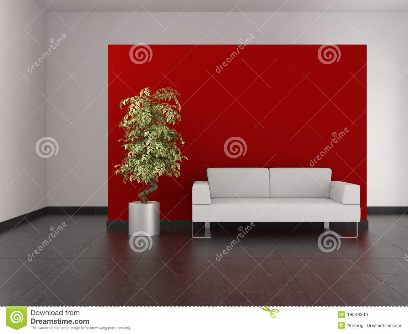 Woonkamer Rode Muur : Living Room with Red Walls