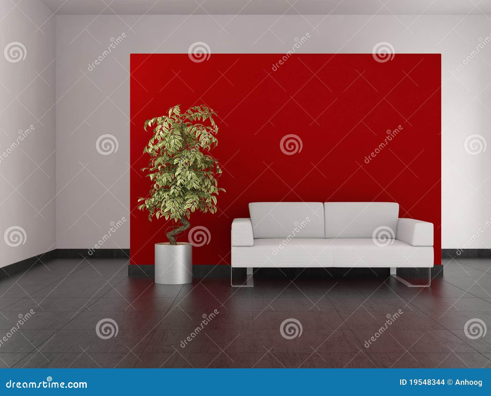 Moderne woonkamer met rode muur en betegelde vloer stock ...