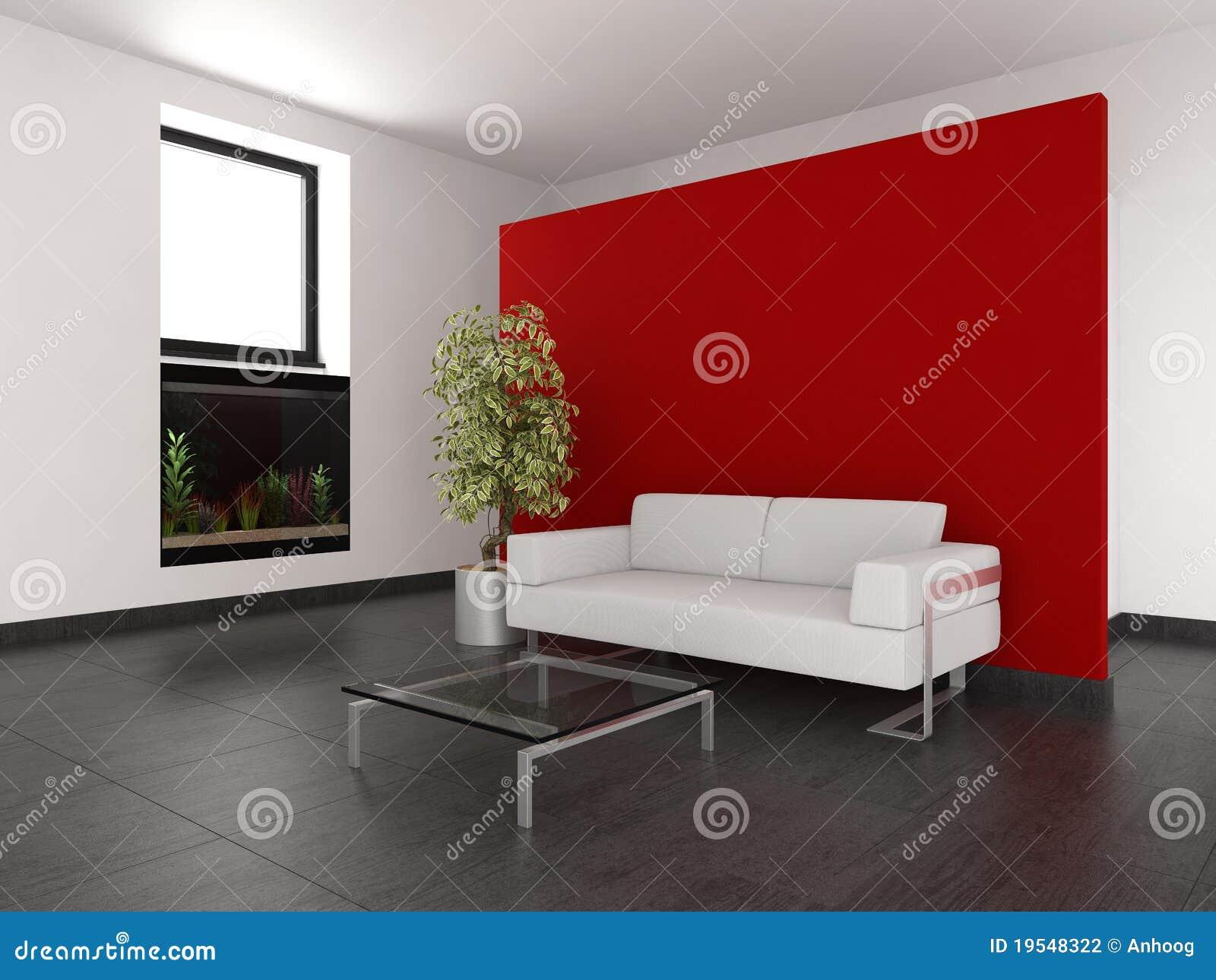 Moderne woonkamer met rode muur, aquarium en donkere betegelde vloer.