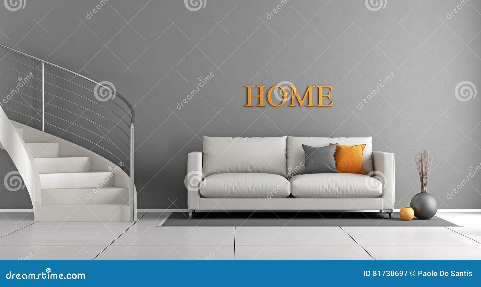 Moderne woonkamer met trap stock illustratie illustratie