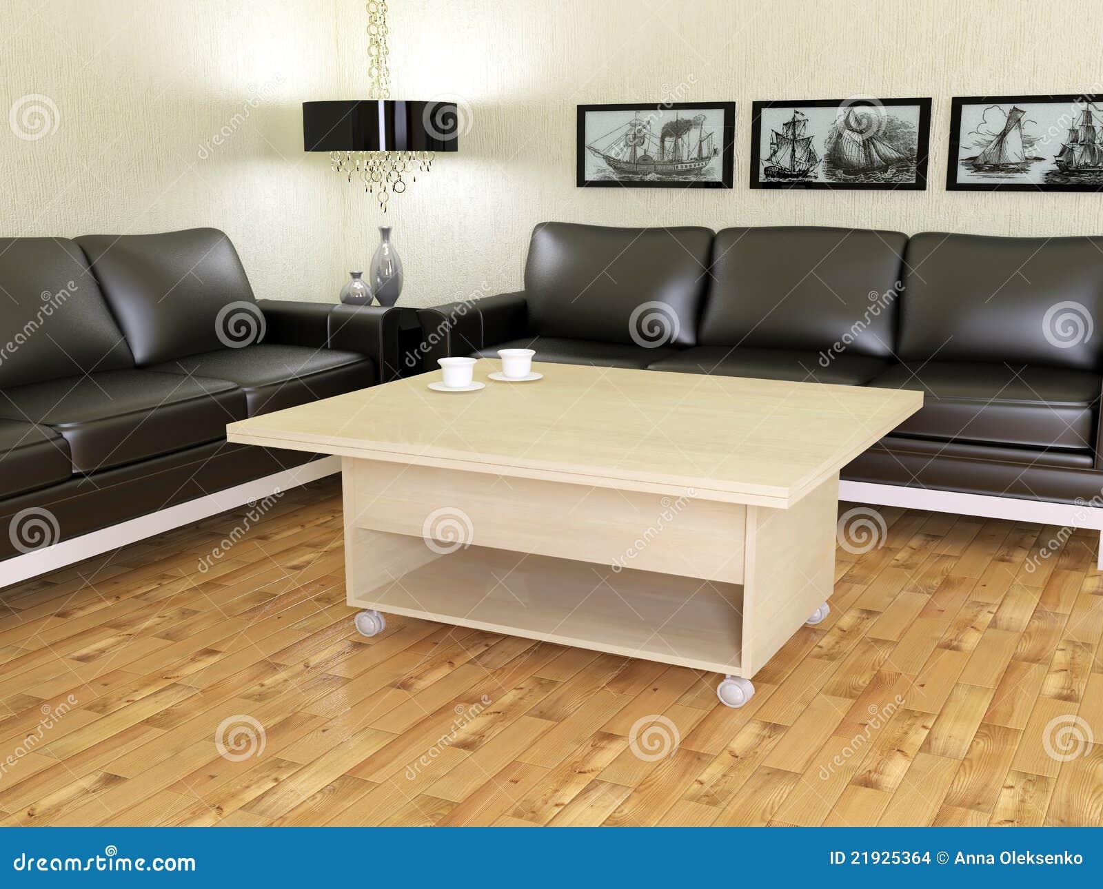 Moderne woonkamer met twee zwarte banken stock afbeeldingen ...