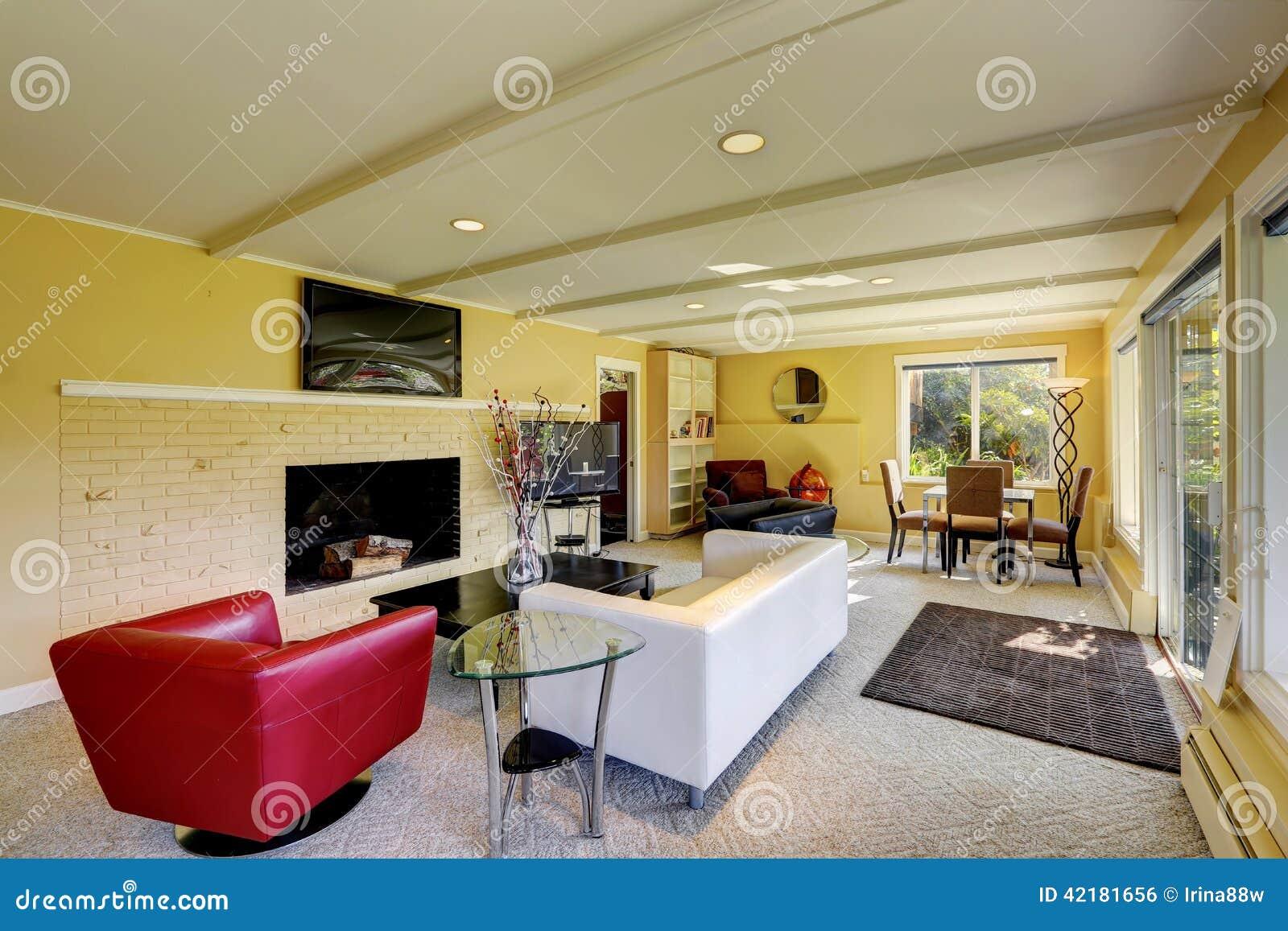 Moderne woonkamer met witte en rode banken stock foto afbeelding 42181656 - Ontwerp banken ...