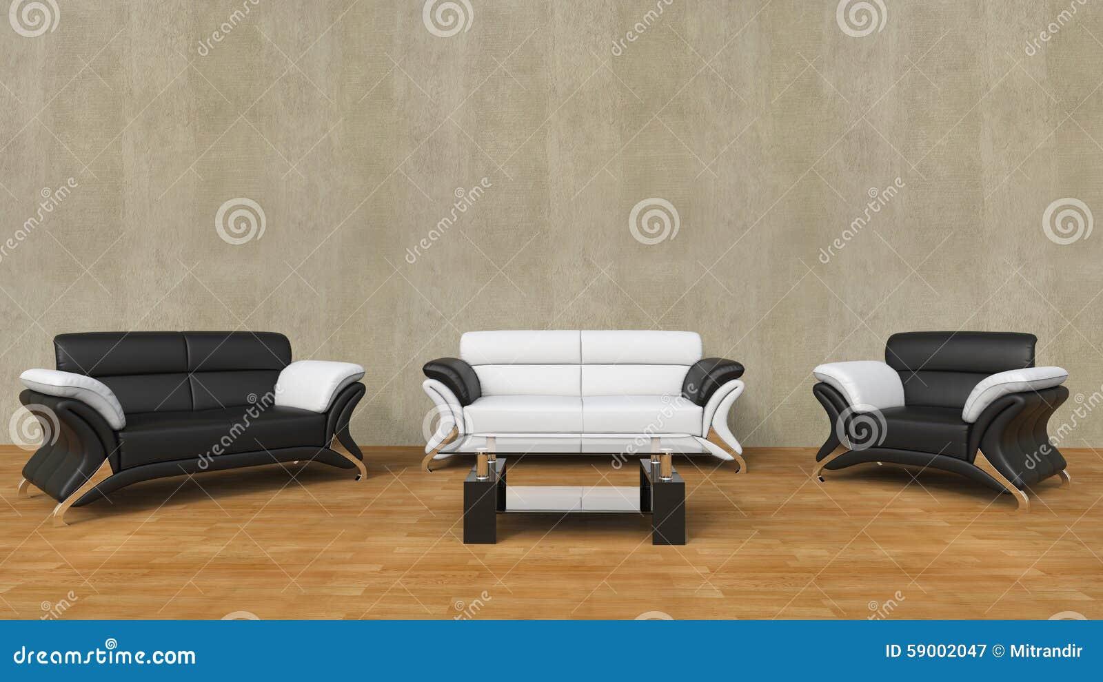 Moderne woonkamer met zwart wit meubilair stock foto   afbeelding ...