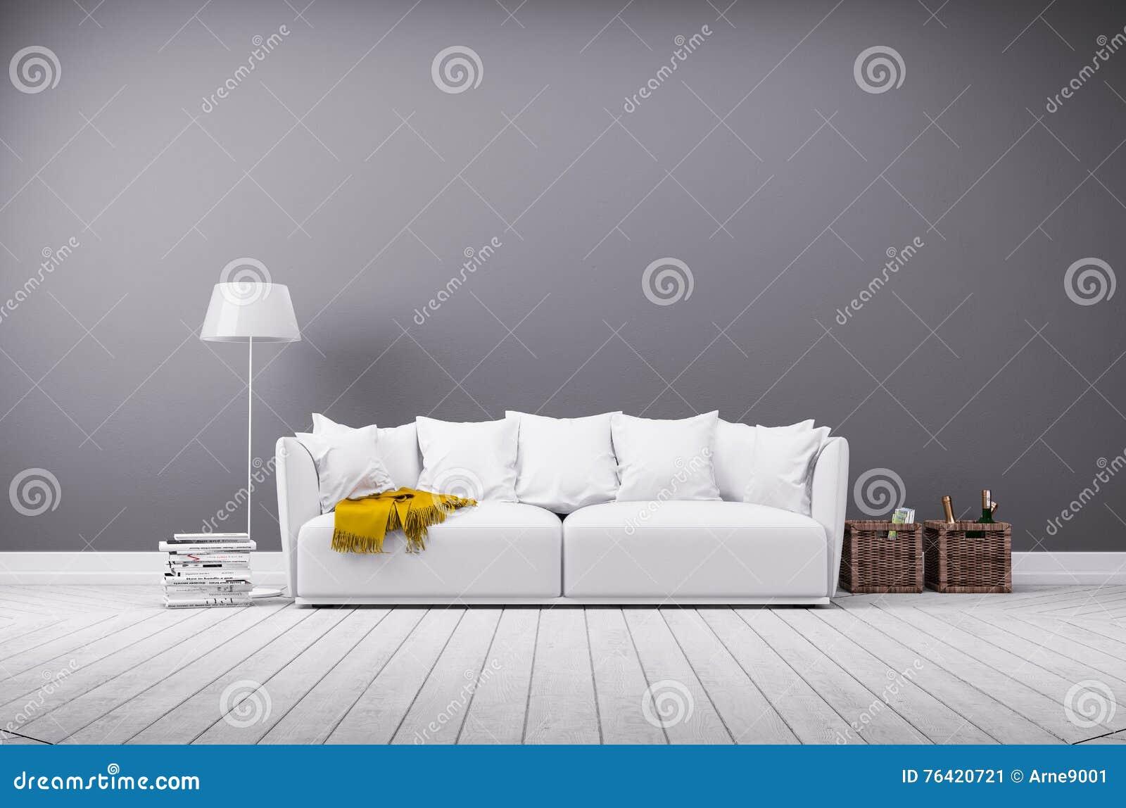 Moderne woonkamer in minimalistic stijl met bank stock afbeelding