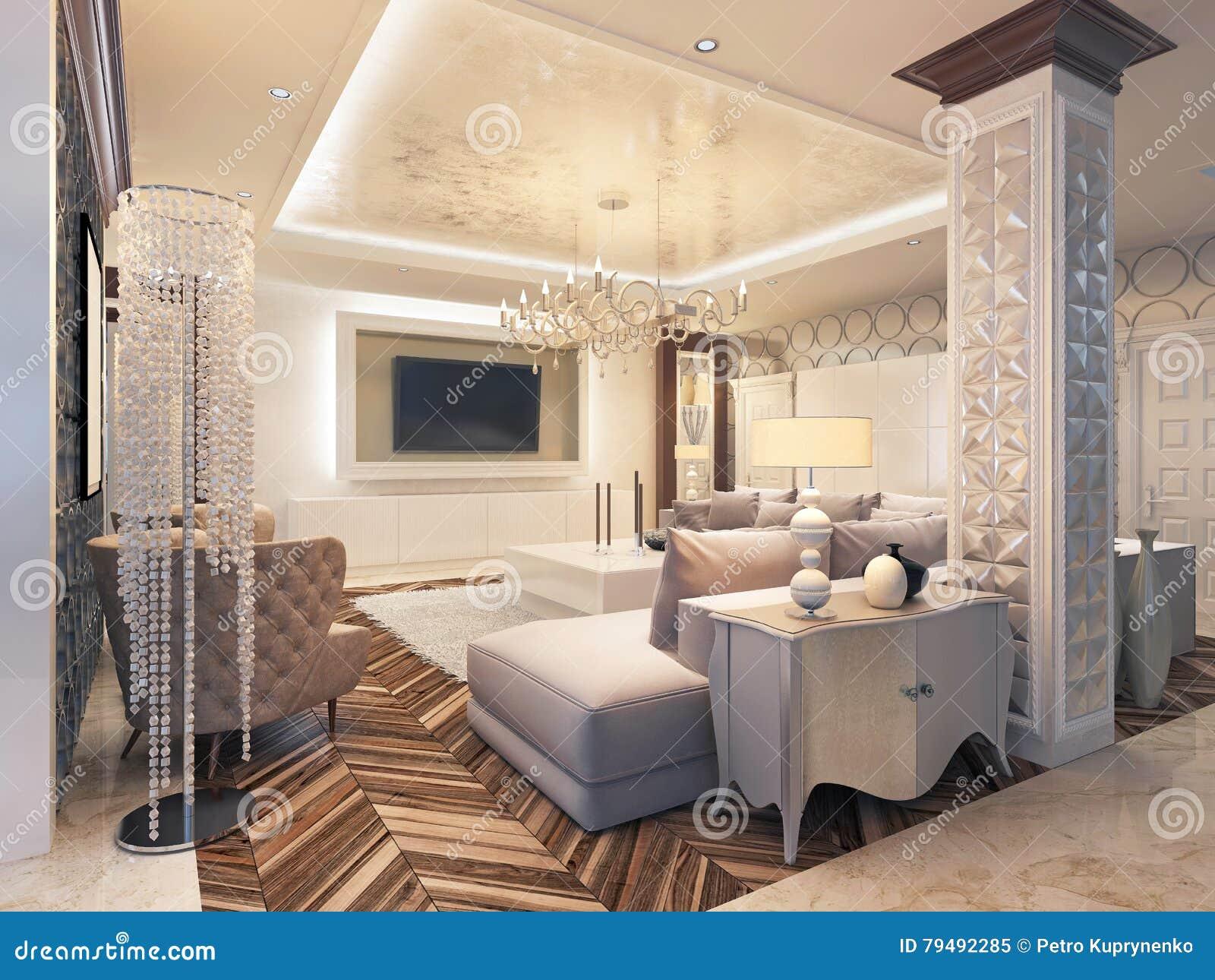Koraalkleur De Woonkamer : Moderne woonkamer in witte kleuren met geïntegreerde opslag voor t