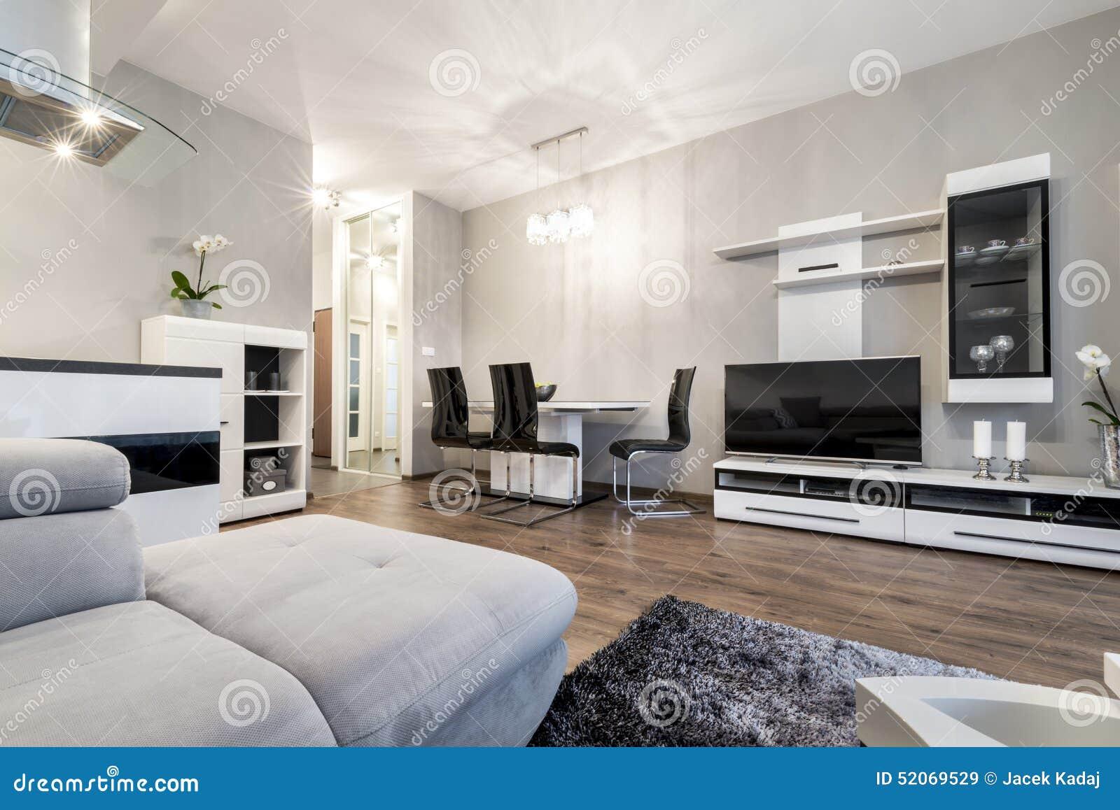 Moderne woonkamer in zwart witte stijl stock afbeelding