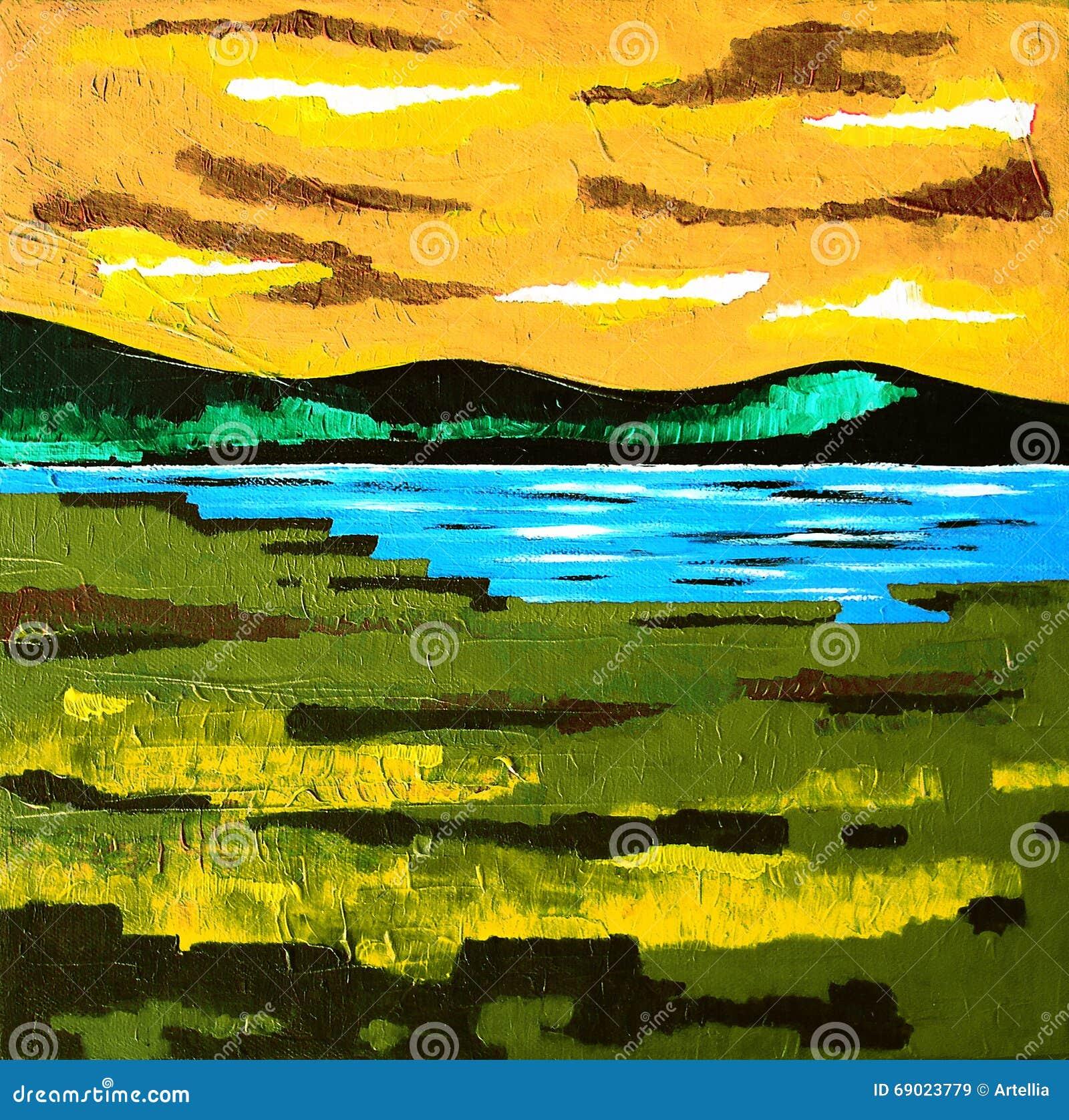 Moderne Zeitgenössische Kunst - Malerei - Sunset See-Wiese - Blaue ...