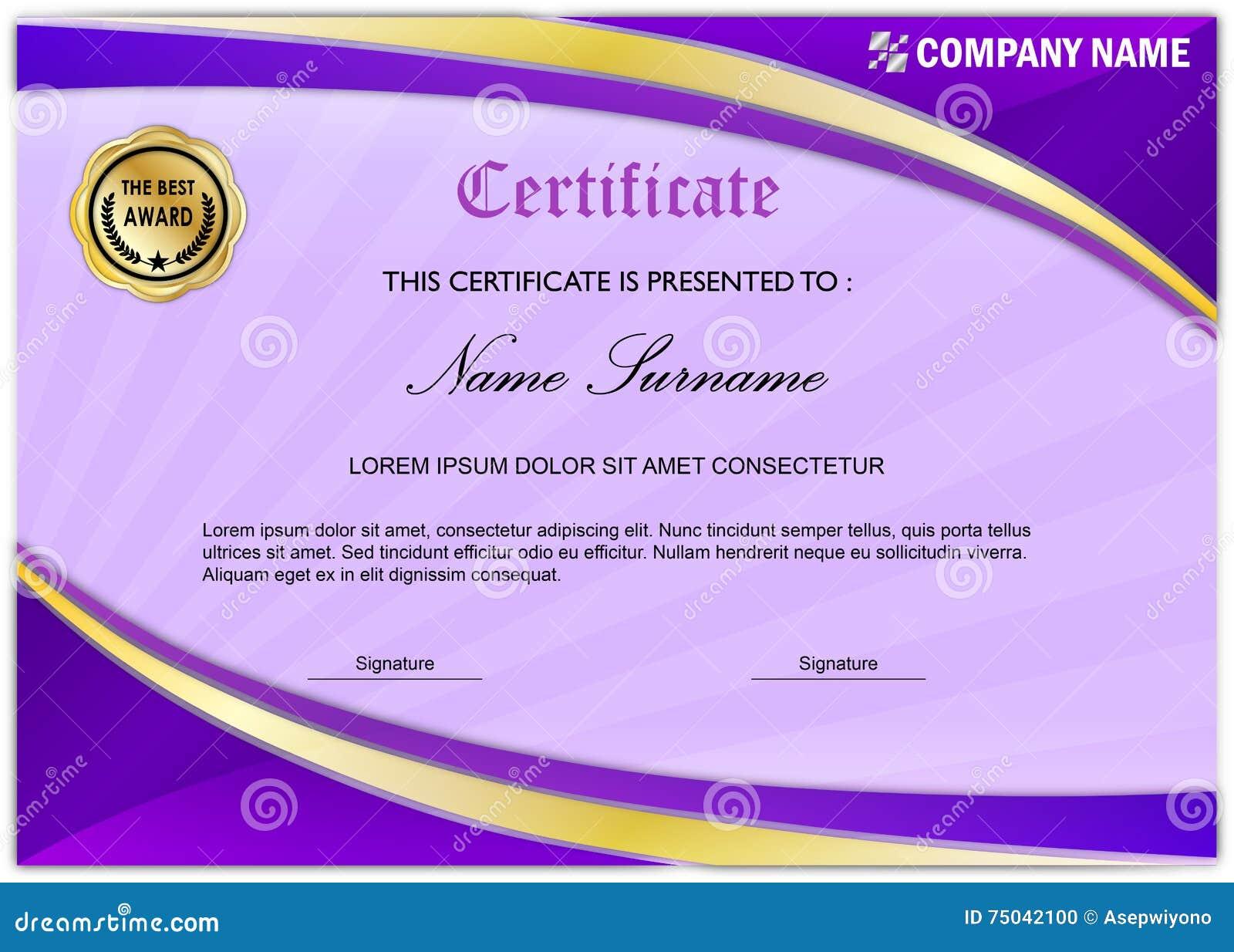 Moderne Zertifikat-/Diplom-Preis-Schablone, Purpurrotes Gold Stock ...