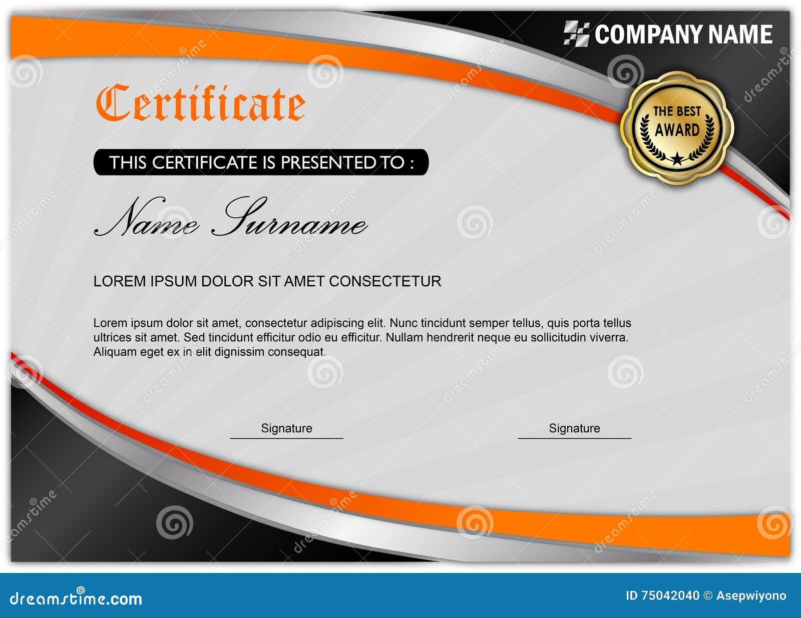 Moderne Zertifikat-/Diplom-Preis-Schablone, schwarze Orange