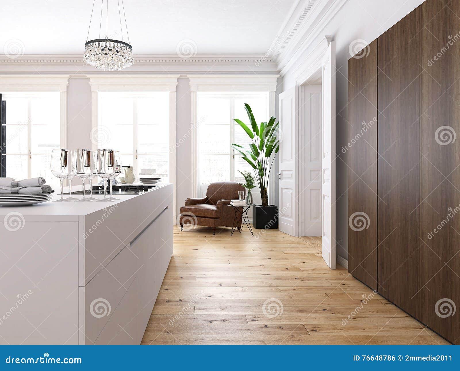 Woonkamer Op Zolder : Moderne zolder met een keuken en woonkamer het d teruggeven stock
