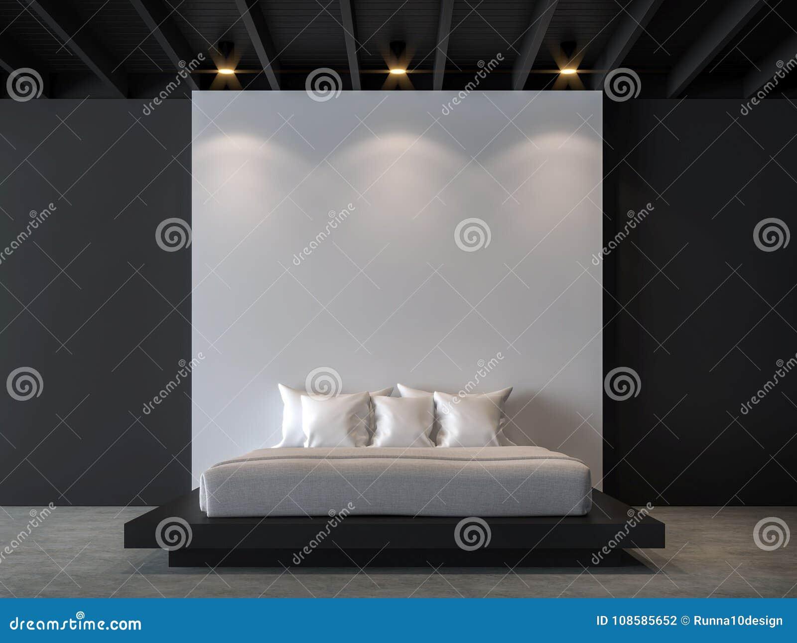 Moderne zolderslaapkamer met zwart-wit 3d teruggevend beeld