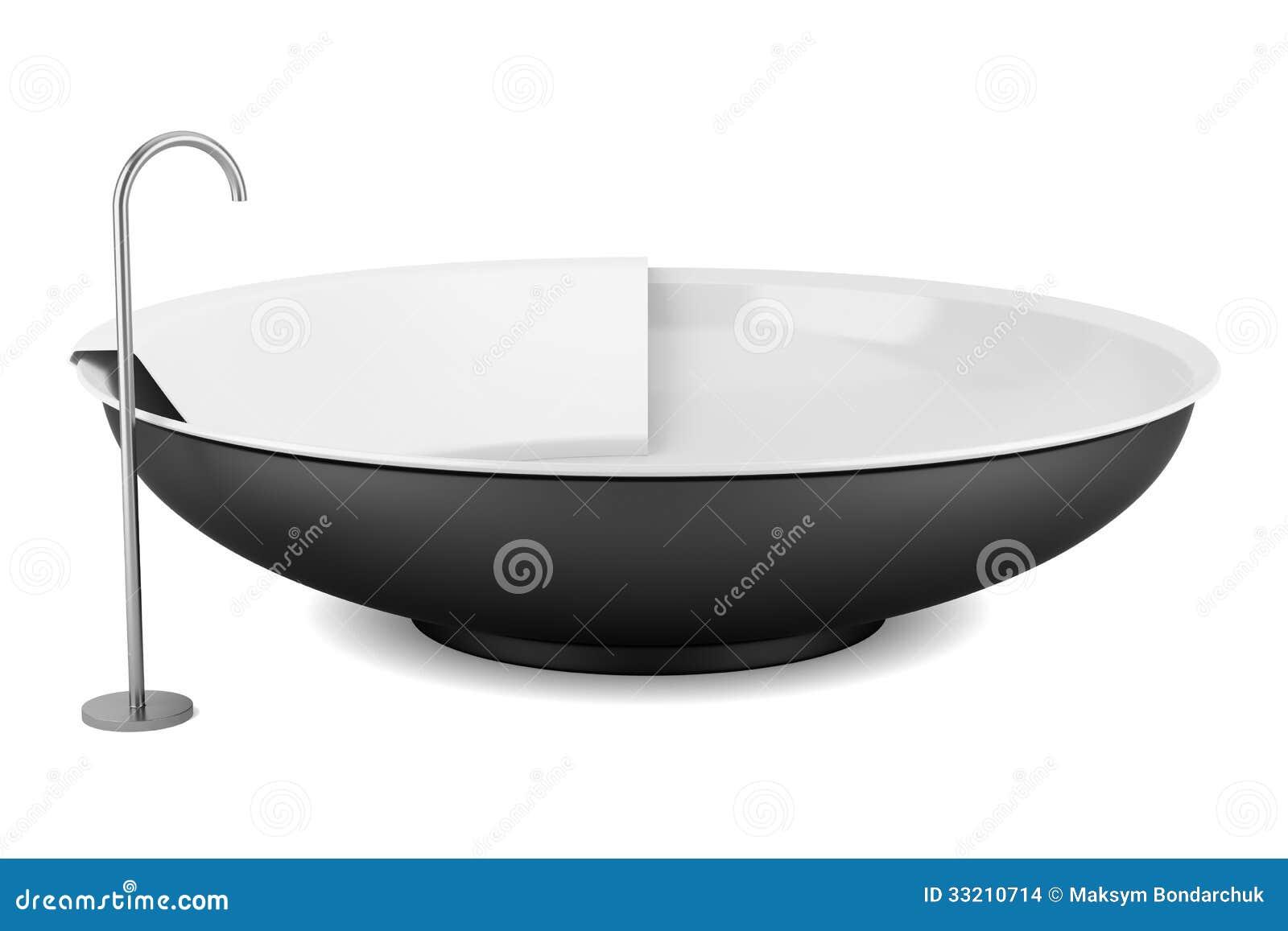 Moderne zwarte ronde badkuip die op wit wordt ge u00efsoleerd