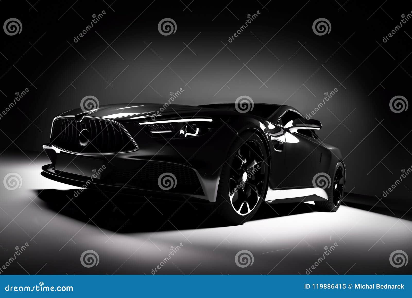 Moderne zwarte sportwagen in een schijnwerper op een zwarte
