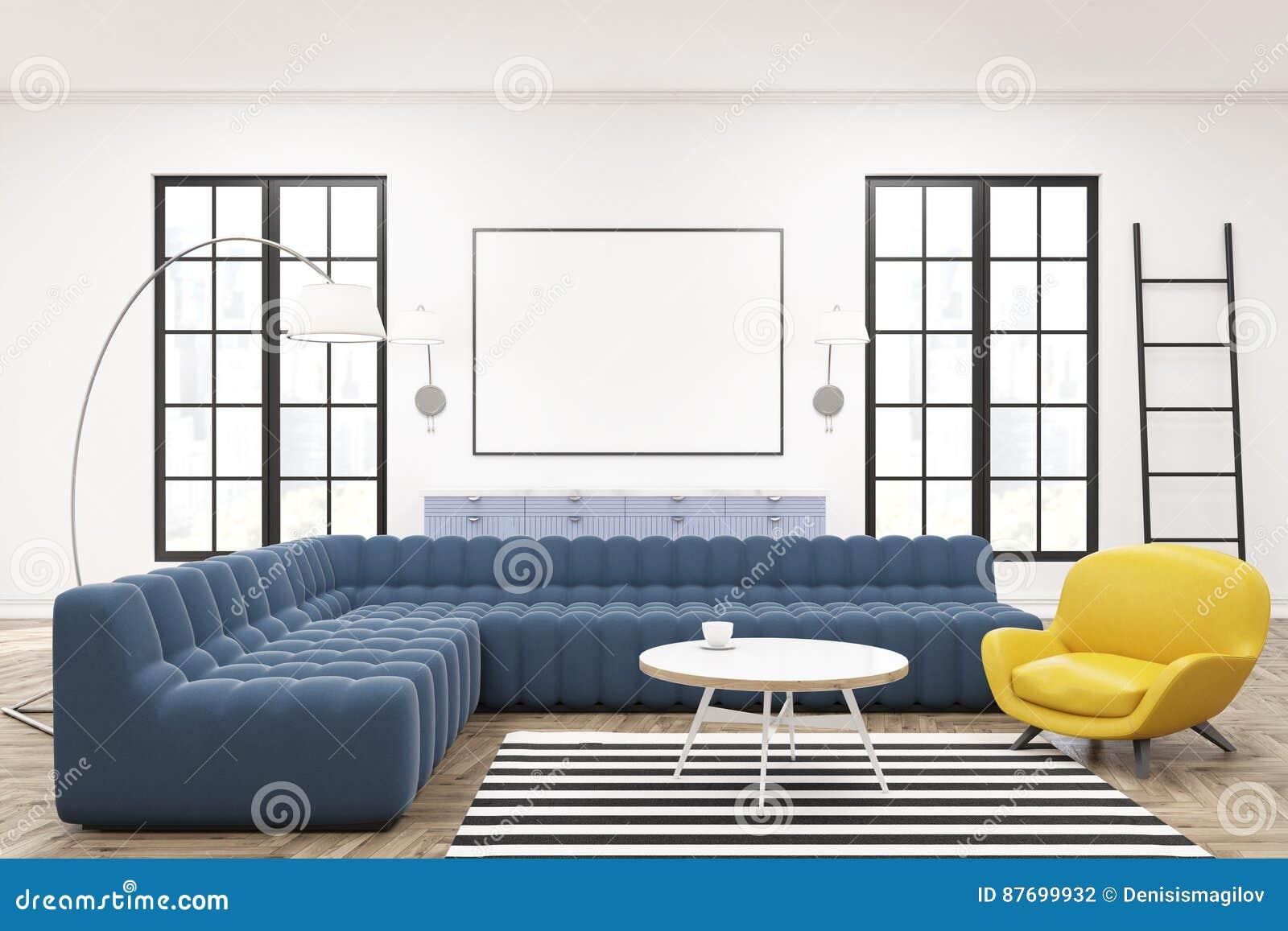 Elegant Download Moderner Aufenthaltsrauminnenraum, Plakat, Blaue Sofas Stock  Abbildung   Illustration Von Leer, Möbel