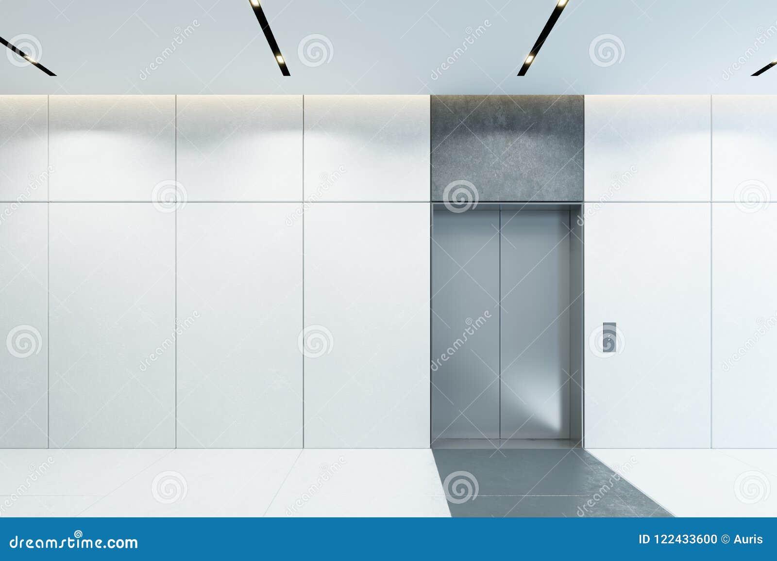 Moderner Aufzug mit geschlossenen Türen in der Bürolobby, Wiedergabe 3d