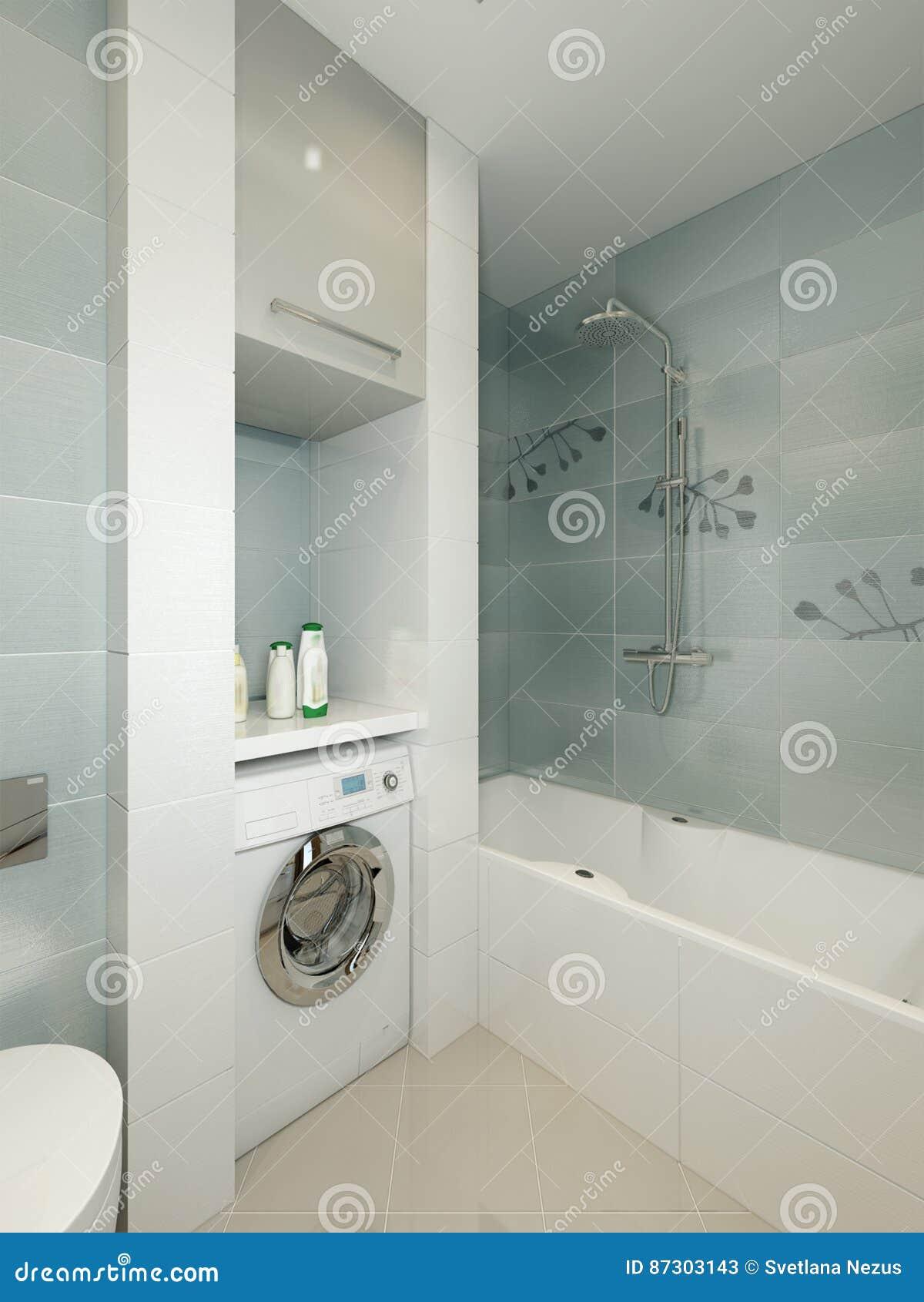 Moderner Badezimmerinnenraum Mit Den Weißen, Beige Und Grauen Fliesen