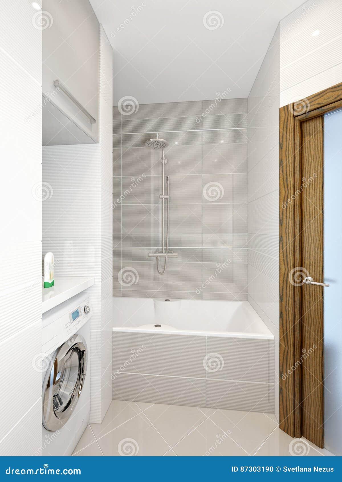 Download Moderner Badezimmerinnenraum Mit Den Weißen, Beige Und Grauen  Fliesen Stockfoto   Bild Von Fußboden