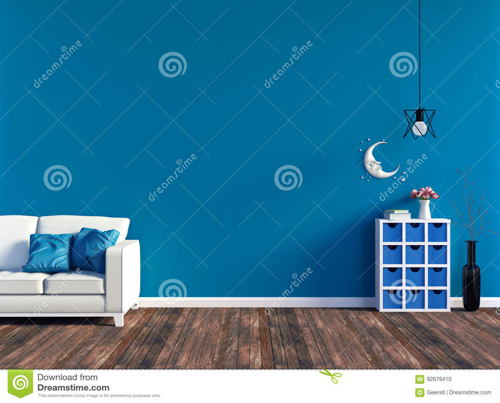 Moderner blauer Wohnzimmerinnenraum - Sofa des weißen Leders und blaue Wand mit Raum