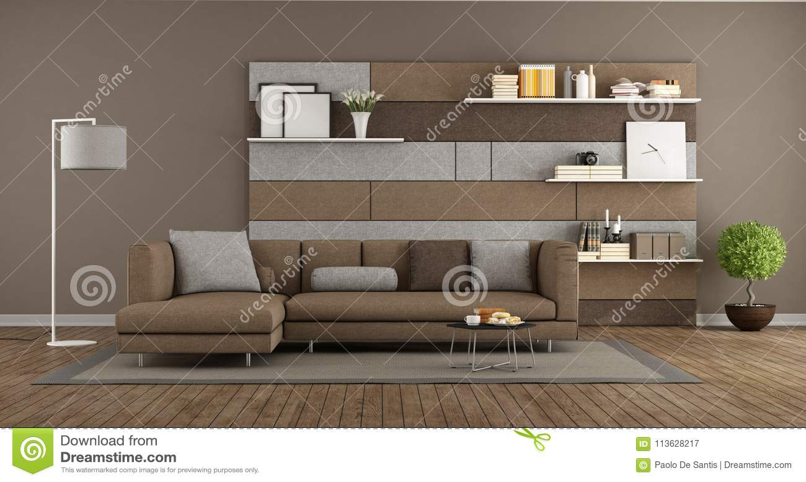 Moderner Brauner Und Grauer Aufenthaltsraum Stock Abbildung ...