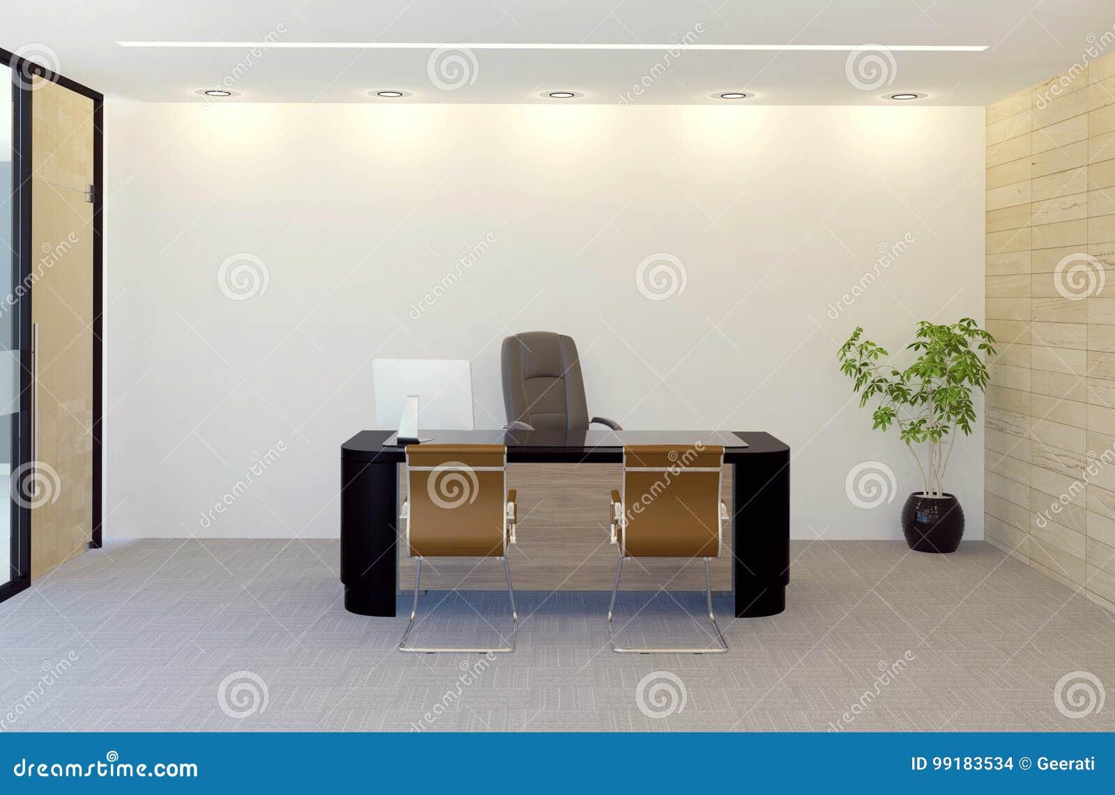 Moderner Direktionsbüro-Rauminnenraum Stock Abbildung - Illustration ...