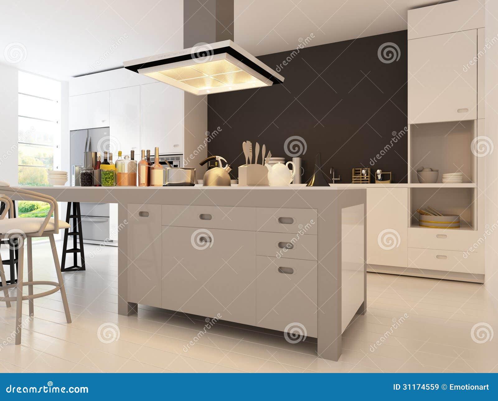 Moderner Entwurfs-Küche   Innenarchitektur Stock Abbildung ...