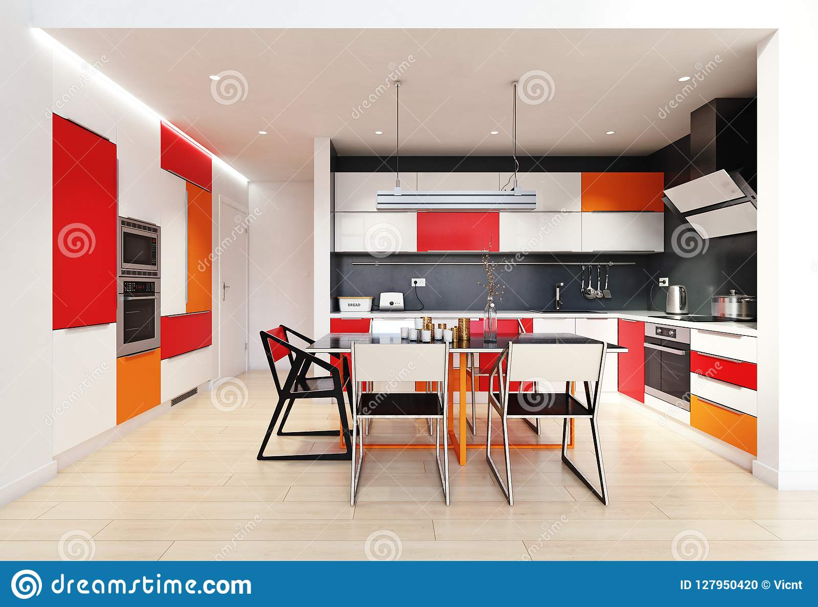 Moderner Farbkücheninnenraum