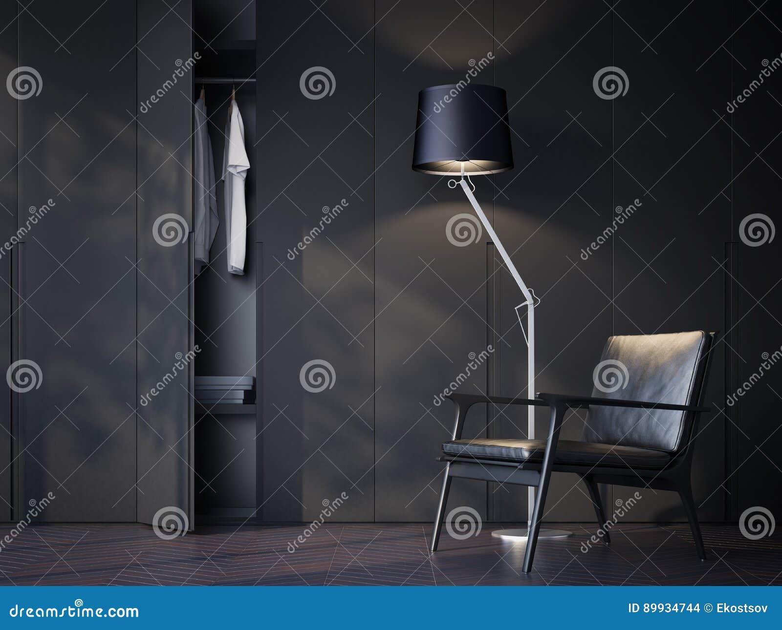 Moderne Lampen 93 : Moderner garderobenraum mit schwarzem lederstuhl wiedergabe d