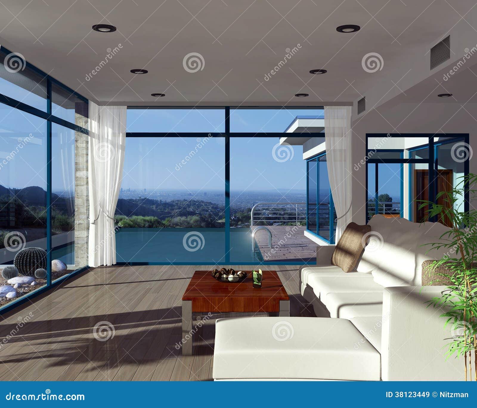 moderner hausinnenraum mit sch ner ansicht stock abbildung illustration von kostspielig pool. Black Bedroom Furniture Sets. Home Design Ideas
