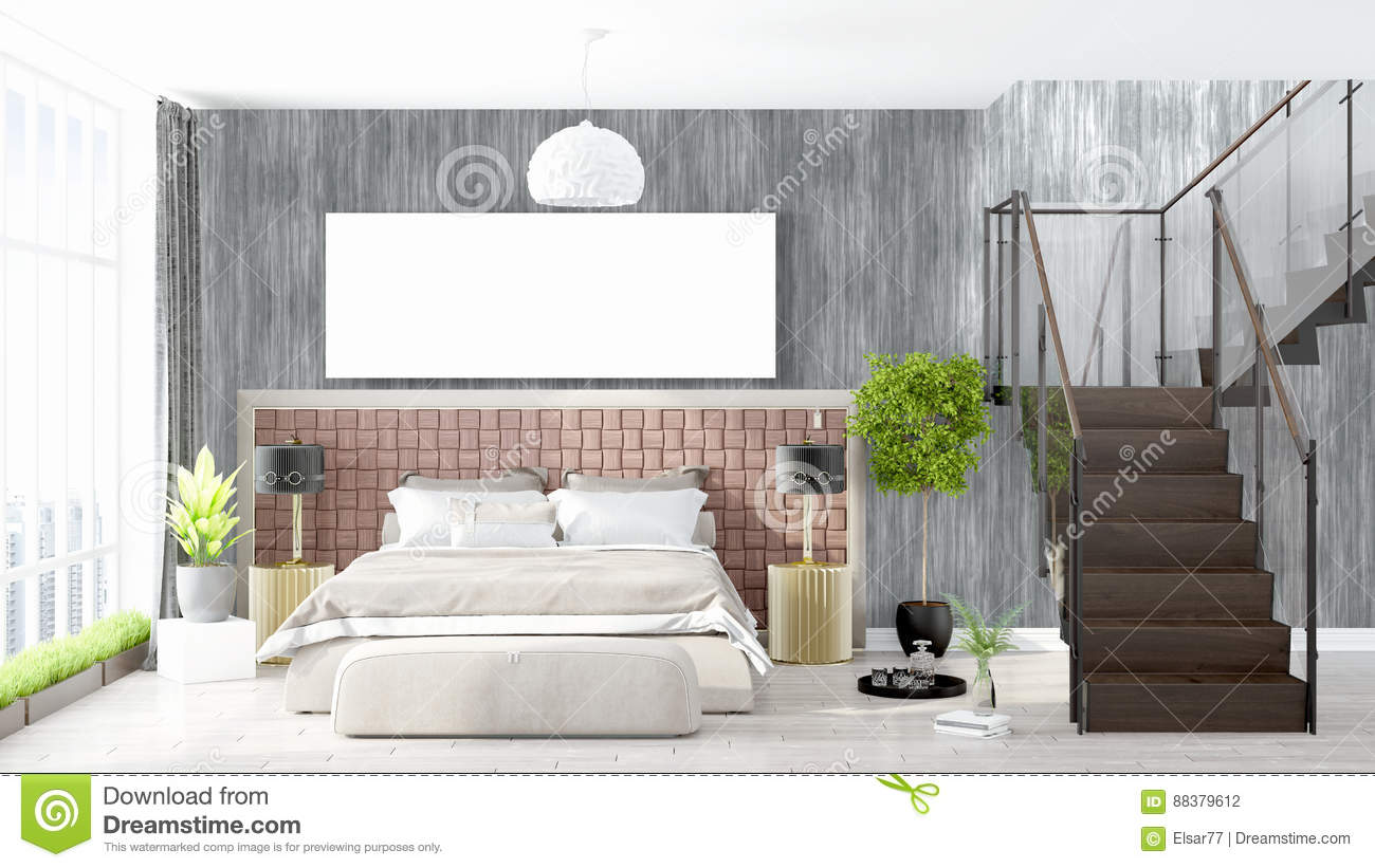 moderner heller innenraum mit leerem rahmen wiedergabe 3d stock abbildung bild 88379612. Black Bedroom Furniture Sets. Home Design Ideas