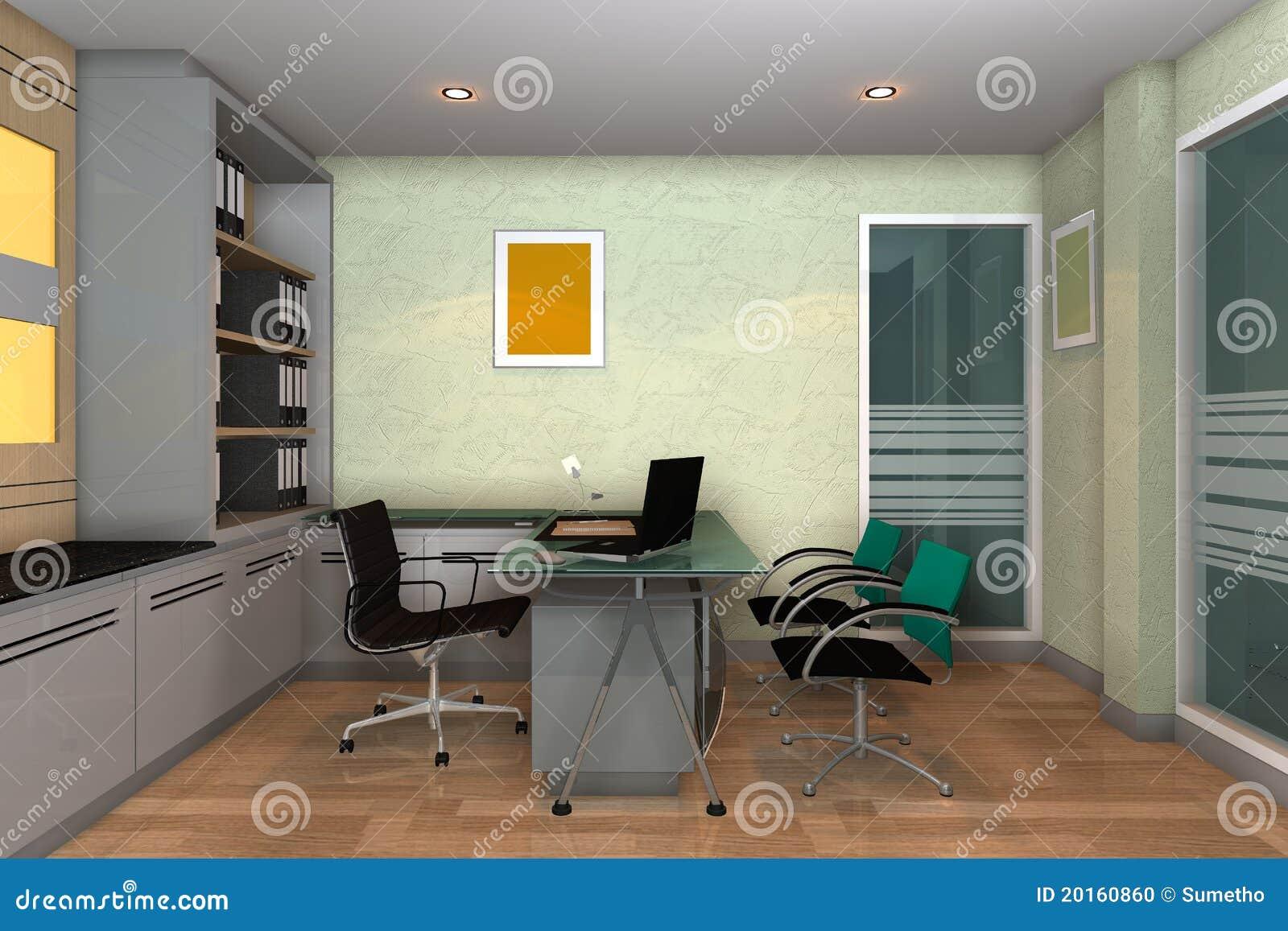 Moderner Innenraum 3d Der Buroraume Stock Abbildung Illustration