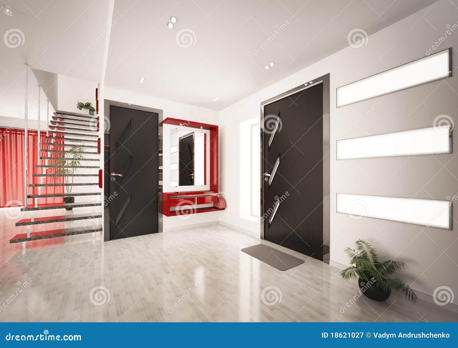 Moderner Innenraum Der Halle Mit Treppenhaus 3d überträgt Stock ...