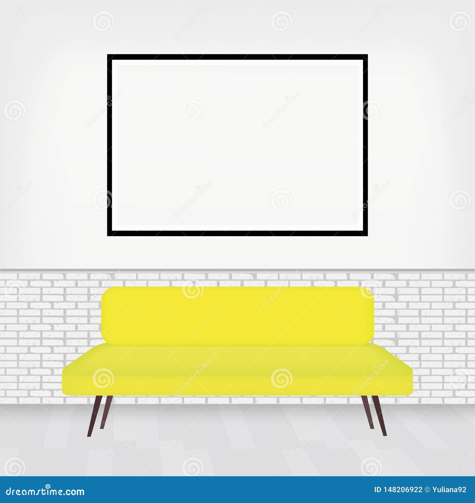 Moderner Innenraum des Raumes mit stilvollem Sofa und des großen pictur Rahmens für Ihren Entwurf Weiße Backsteinmauer im gemütli