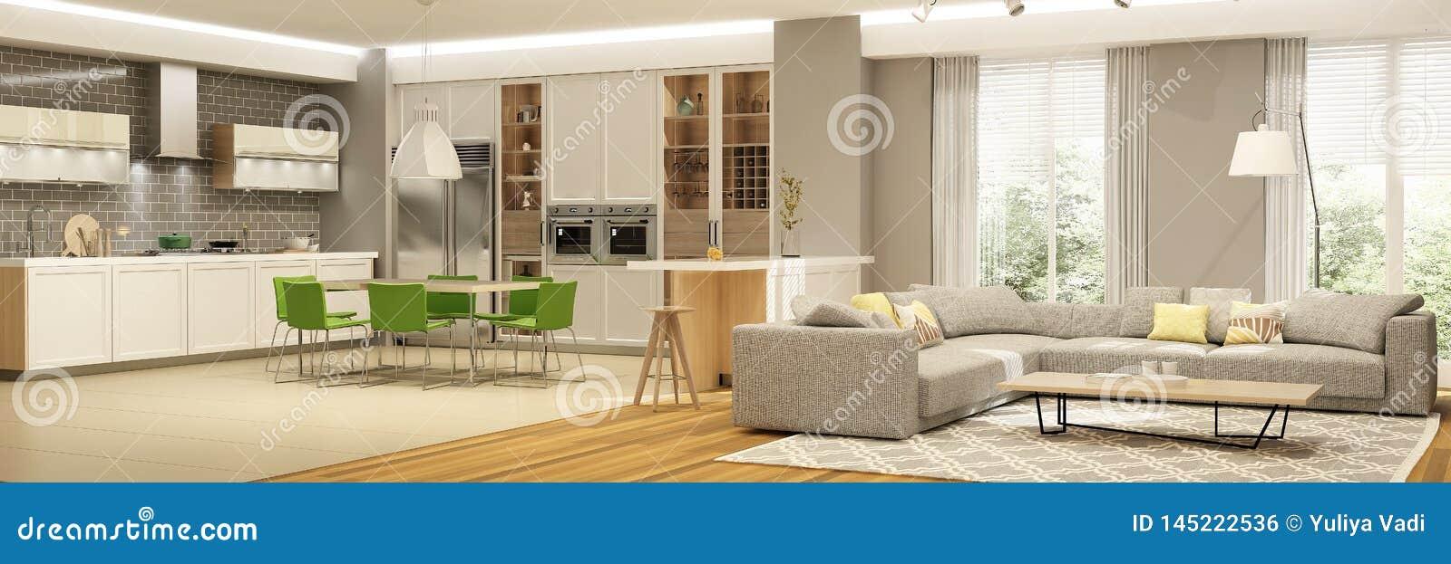 Moderner Innenraum Des Wohnzimmers Mit Der Kche In Einem Haus Oder Wohnung In Den Grauen Farben ...