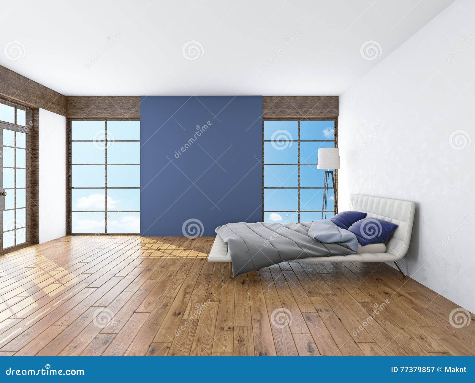 Moderner innenraum einer wiedergabe des schlafzimmers 3d stock