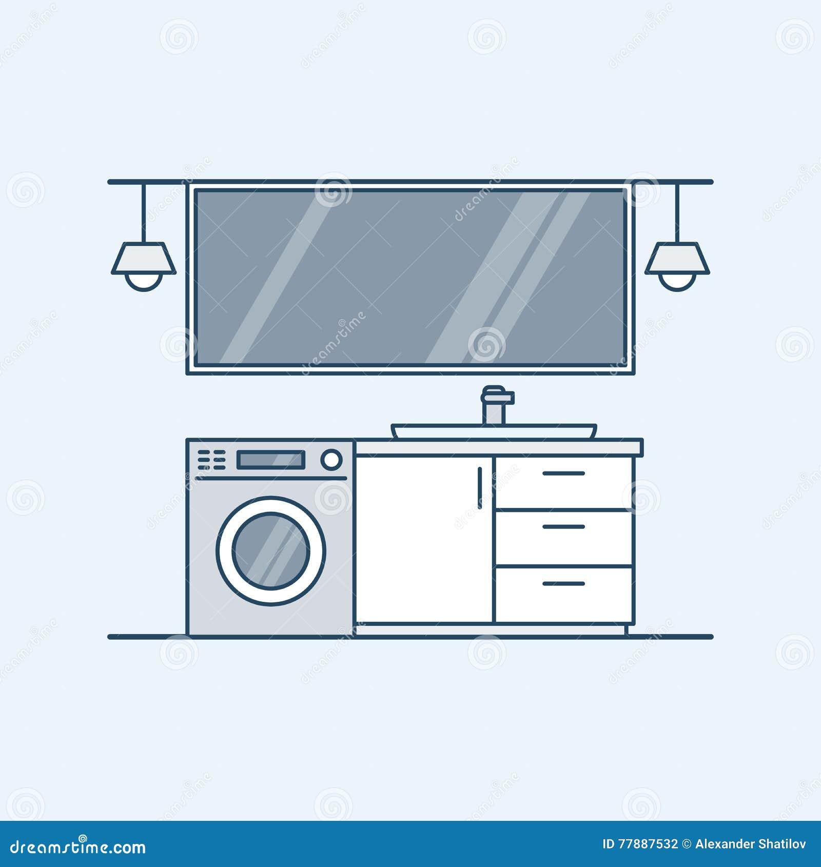 Moderner innenraum eines badezimmers mit waschmaschine und wanne ein großer spiegel und lampen vektorillustration in einem