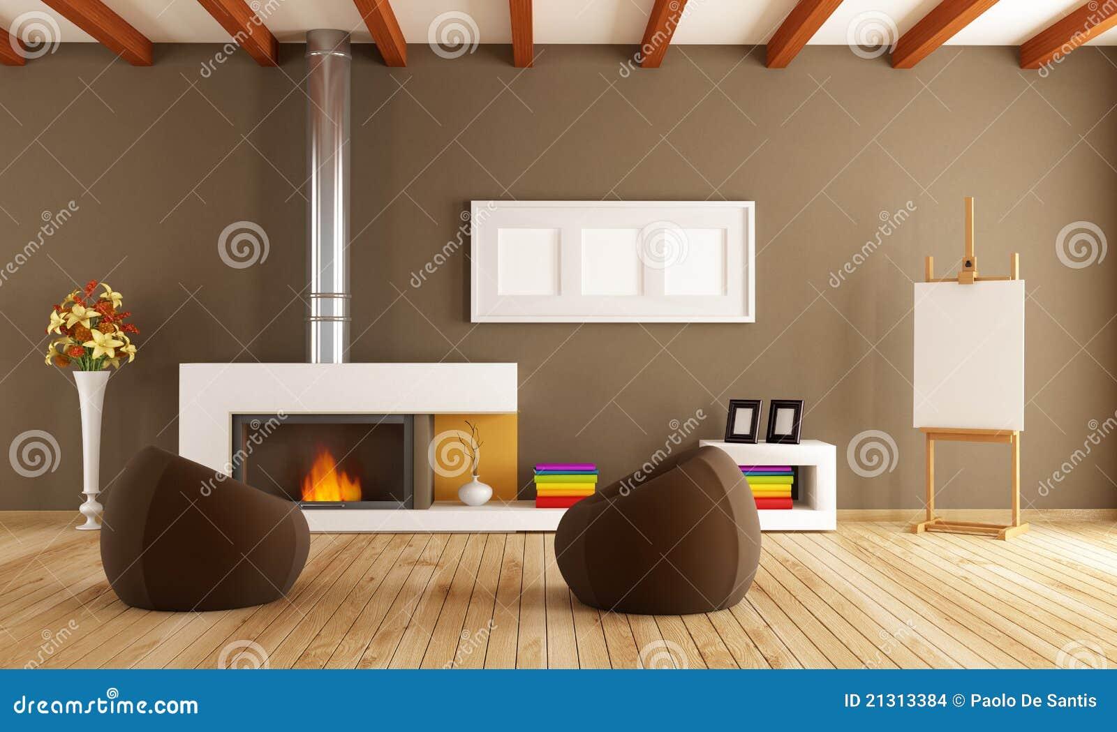 Moderner Innenraum Mit Kamin Stockbilder   Bild: 21313384, Wohnzimmer Dekoo
