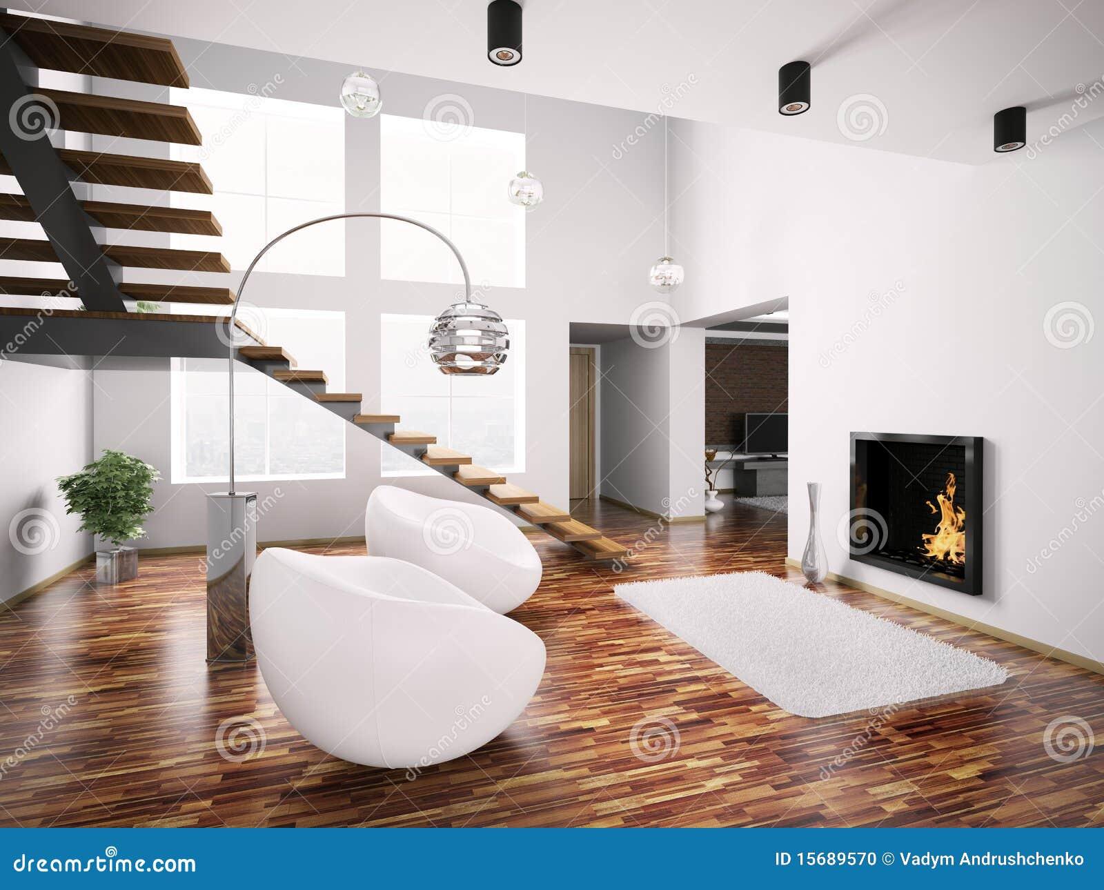 Moderner Innenraum Mit Kamin Und Treppenhaus 3d Stockfoto - Bild: 15689570