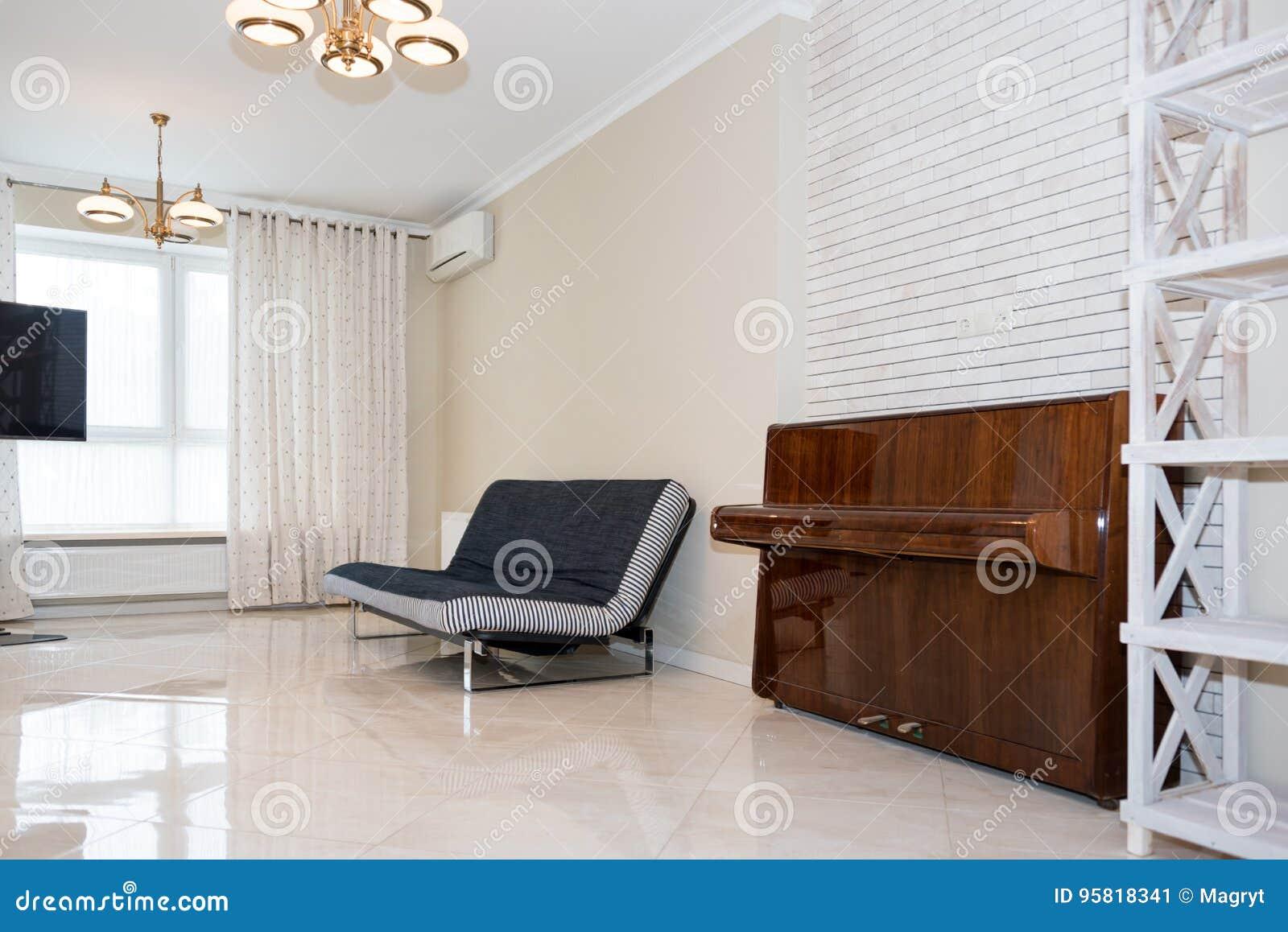 Moderner Küchenbereich Befestigt Zum Wohnzimmer Innenarchitektur Mit ...