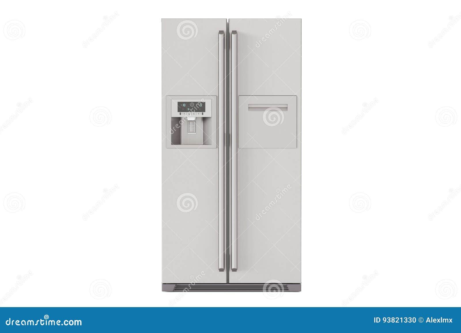 Moderner Kühlschrank Mit Nebeneinander Türsystem, Wiedergabe 3D ...