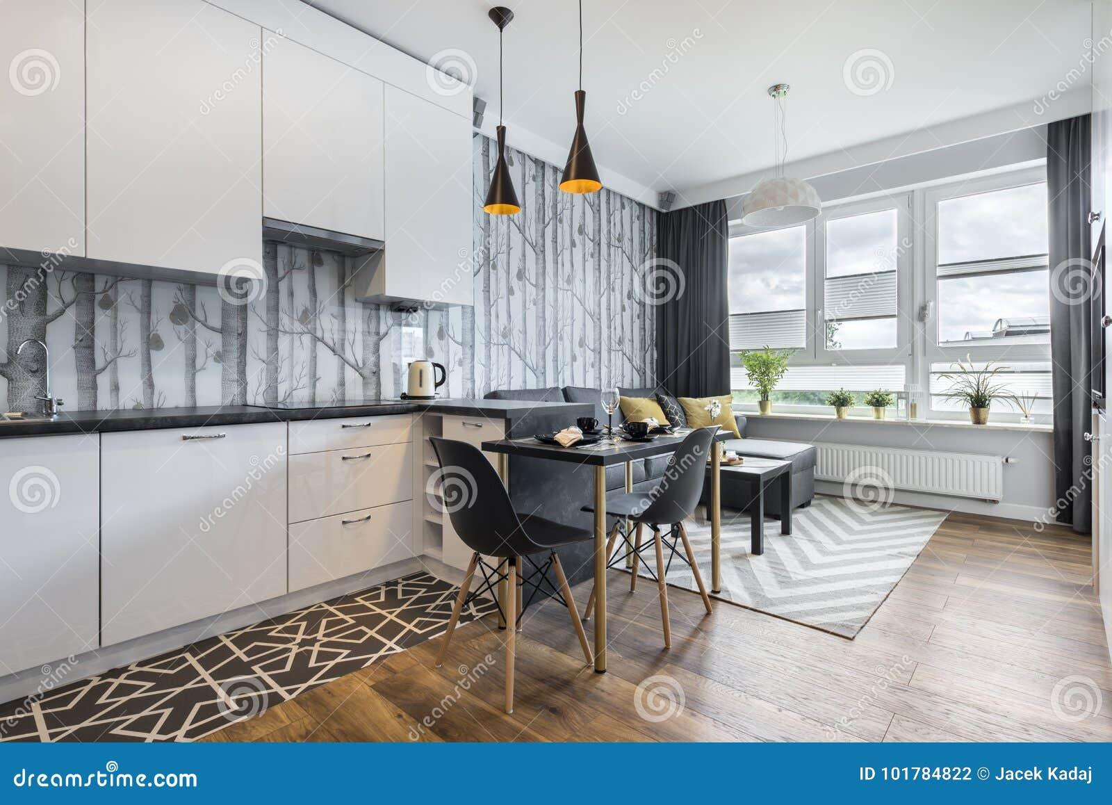 Moderner Kleiner Raum Mit Küche Stockfoto - Bild von ...