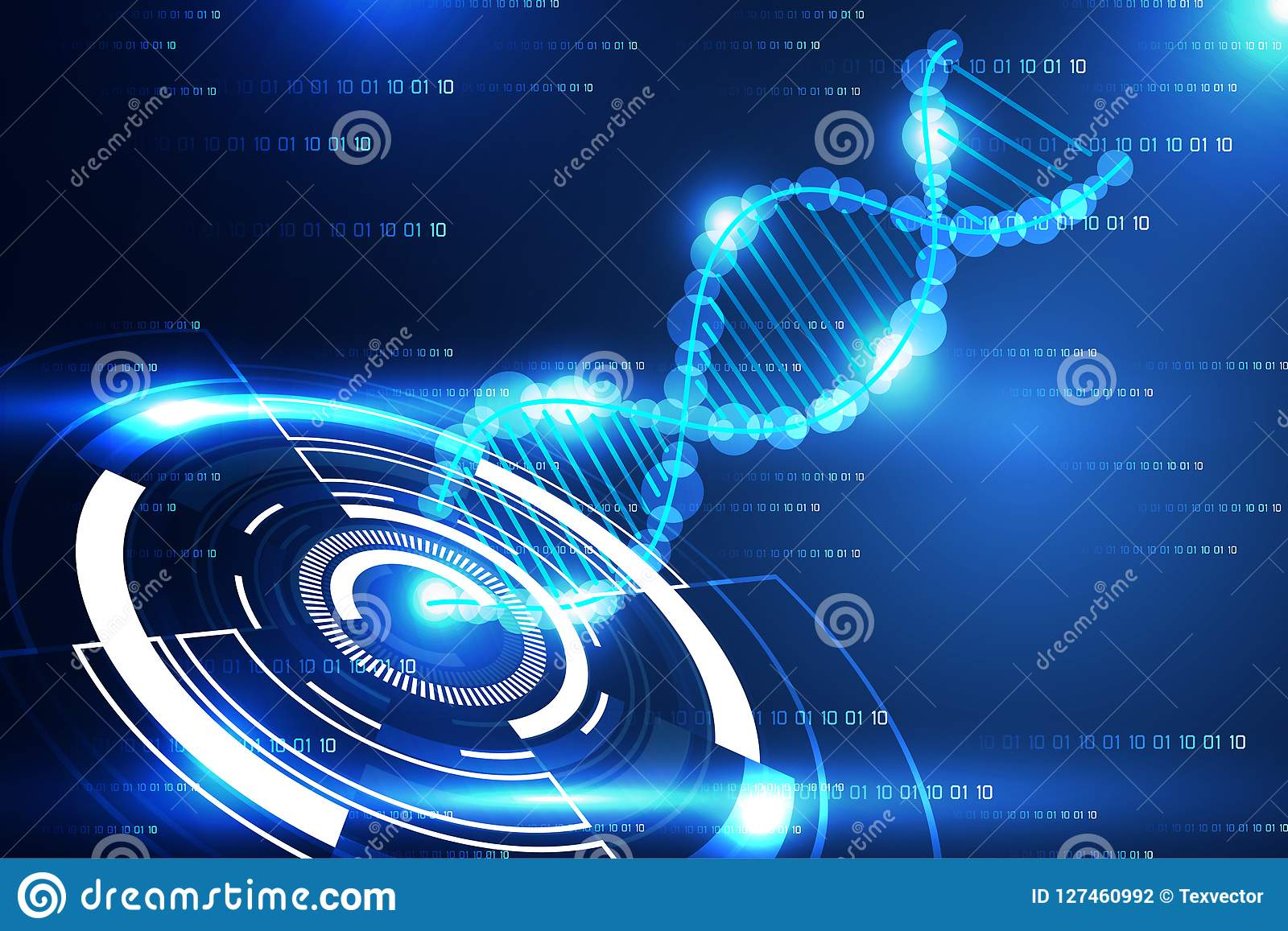 Moderner Kreis und DNA blaues L des abstrakten Technologiewissenschafts-Konzeptes