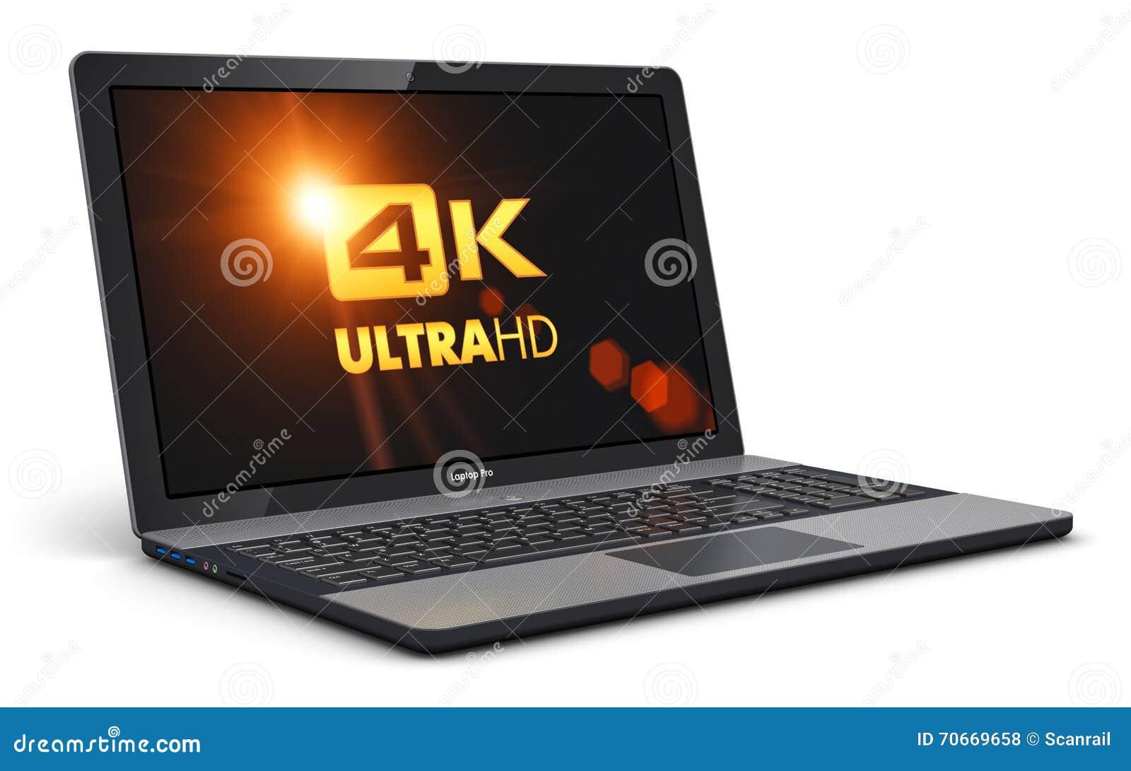 Moderner Laptop Mit Bildschirmauflosung 4k Ultrahd Stock Abbildung Illustration Von Schnittstelle Internet 70669658