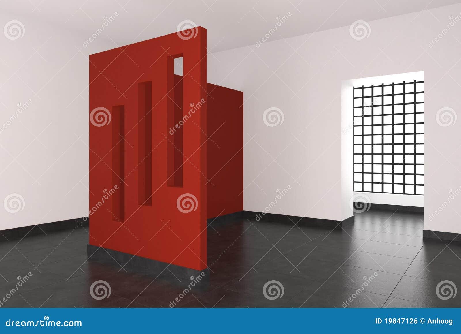 Moderner leerer Innenraum mit roter Wand und Fenstern