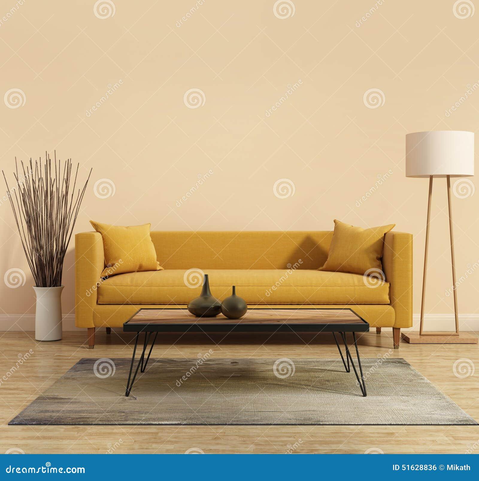 Moderner moderner Innenraum mit einem gelben Sofa im Wohnzimmer mit einer weißen minimalen Badewanne