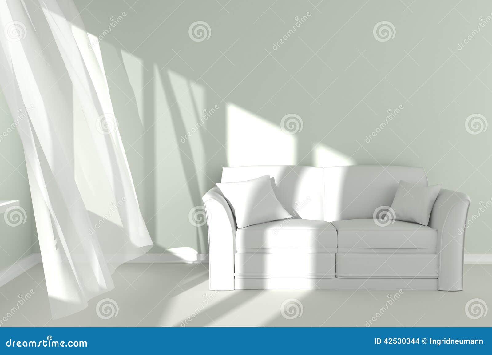 Moderner Raum-Innenraum Mit Weißen Vorhängen Und Couch Stock ...
