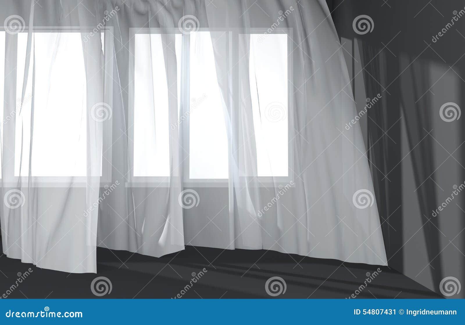Moderner Raum-Innenraum Mit Weißen Vorhängen Und Sonnenlicht Stock ...