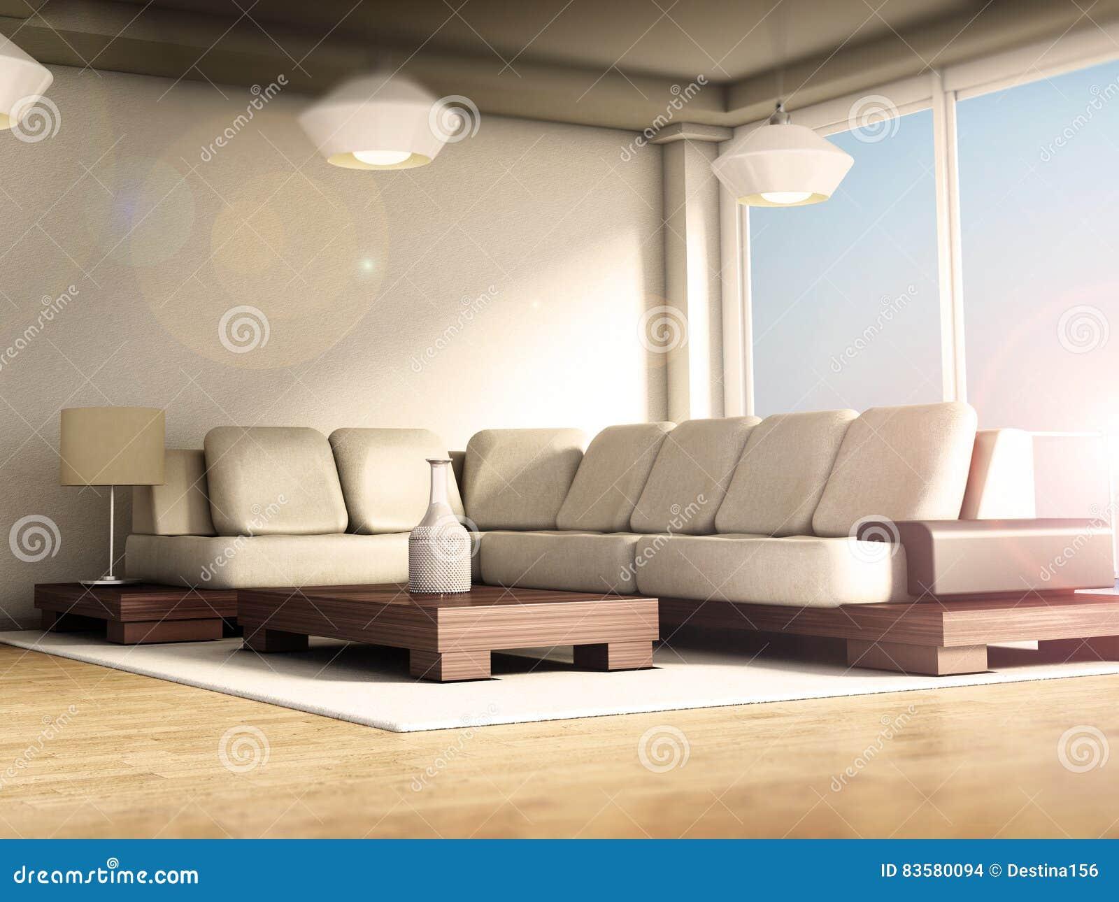 Moderner Rauminnenraum Mit Großen Fenstern Und Parkettboden ...